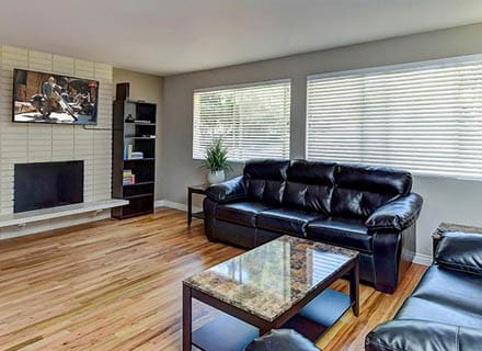 Photo of the living room of one of our transitional living (or sober living) homes near Seattle and Bellevue, WA